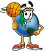 Cartoon Globe Character Playing Basketball clipart
