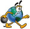 Cartoon Globe Character Bowling clipart