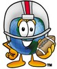 Cartoon Globe Character Playing Football clipart