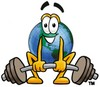 Cartoon Globe Character Weightlifting clipart