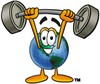 Cartoon Globe Character Lifting Weights clipart