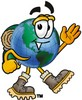Cartoon Globe Character Hiking clipart