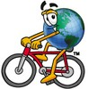 Cartoon Globe Character Bicycling clipart