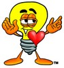 Cartoon Light Bulb Character With a Heart clipart