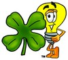 Cartoon Light Bulb Character With a Four Leaf Clover clipart