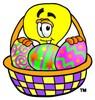 Cartoon Light Bulb Character With an Easter Basket clipart