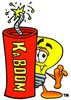 Cartoon Light Bulb Character With Kaboom Dynamite Stick clipart