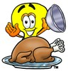 Cartoon Light Bulb Character Uncovering Thanksgiving Turkey Dinner clipart