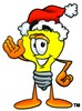 Cartoon Light Bulb Character Wearing a Santa Hat clipart