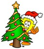 Cartoon Light Bulb Character With Christmas Tree clipart
