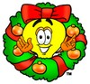 Cartoon Light Bulb Character in a Christmas Wreath clipart