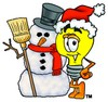 Cartoon Light Bulb Character With a Snowman clipart