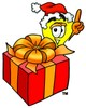 Cartoon Light Bulb Character With a Christmas Present clipart