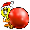 Cartoon Light Bulb Character With a Christmas Tree Ornament clipart