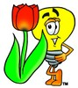 Cartoon Light Bulb Character With a Tulip Flower clipart