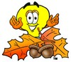 Cartoon Light Bulb Character With Fall Leaves and Acorns clipart