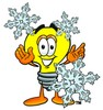 Cartoon Light Bulb Character With Snowflakes clipart