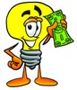 Cartoon Light Bulb Character With Money clipart