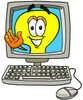 Cartoon Light Bulb Character in a Computer clipart