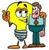 Cartoon Light Bulb Character With Businessman clipart