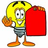 Cartoon Light Bulb Character Holding a Blank Price Tag clipart
