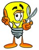 Cartoon Light Bulb Character With Scissors clipart