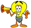 Cartoon Light Bulb Character With a Megaphone clipart
