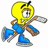 Cartoon Light Bulb Character Playing Hockey clipart