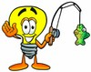 Cartoon Light Bulb Character Fishing clipart