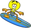 Cartoon Light Bulb Character Surfing clipart