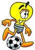 Cartoon Light Bulb Character Playing Soccer clipart
