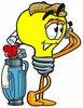 Cartoon Light Bulb Character Swinging a Golf Club clipart