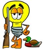Cartoon Light Bulb Character Bird Hunting clipart