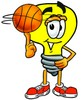 Cartoon Light Bulb Character Playing Basketball clipart