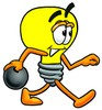 Cartoon Light Bulb Character Bowling clipart