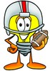 Cartoon Light Bulb Character Playing Football clipart