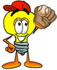 Cartoon Light Bulb Character Playing Baseball clipart