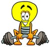 Cartoon Light Bulb Character Weightlifting clipart