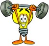 Cartoon Light Bulb Character Lifting Weights clipart