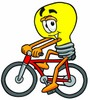 Cartoon Light Bulb Character Bicycling clipart