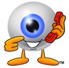 Cartoon Eye Ball Character Holding a Phone - Make an Appointment clipart