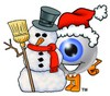 Cartoon Eye Ball Character Beside Snowman clipart