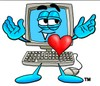 Cartoon Computer Character with a Heart clipart