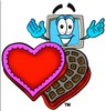 Cartoon Computer Character with Valentine