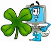 Cartoon Computer Character with Four Leaf Clover - Saint Patrick