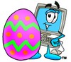 Cartoon Computer Character with Easter Egg clipart