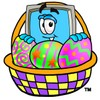Cartoon Computer Character with Easter Egg Basket clipart