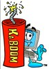 Cartoon Computer Character with Kaboom Dynamite Stick clipart