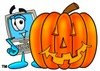 Cartoon Computer Character Beside Halloween Pumpkin clipart