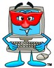 Cartoon Computer Character Wearing a Mask clipart